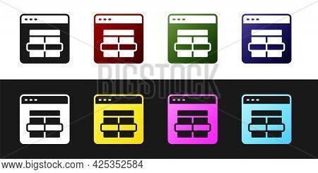 Set Mysql Code Icon Isolated On Black And White Background. Html Code Symbol For Your Web Site Desig