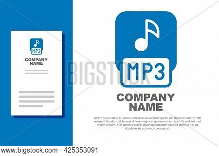 Blue Mp3 File Document. Download Mp3 Button Icon Isolated On White Background. Mp3 Music Format Sign