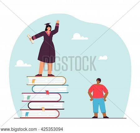 Girl In Academic Dress With Diploma Standing On Pile Of Books. Brother Looking At His Smart And Succ
