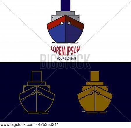 Simple Ship Logo Design. Colorful Ship Logo. Latest Ship Logo Illustration