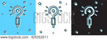 Set Magic Wand Icon Isolated On Blue And White, Black Background. Star Shape Magic Accessory. Magica