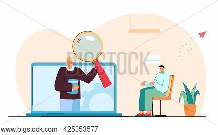 Man Having Video Call With Psychologist. Patient Talking About Problems Flat Vector Illustration. Su