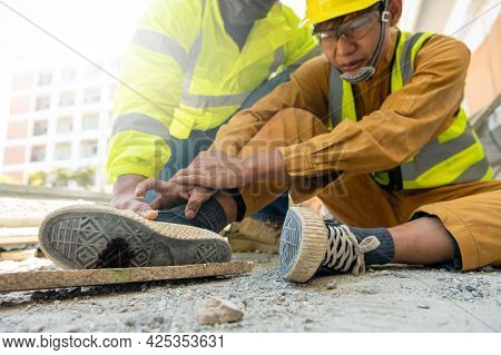 Employee Accident Stepped On A Rusty Nail In Site Work, Builder Accident Injury From Working, Superv