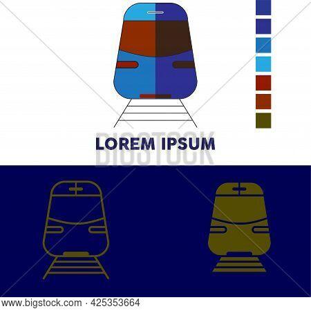 New Train Design Illustration. Vector Of A Train Logo In Bright Color. Train Logo Design For Clothes