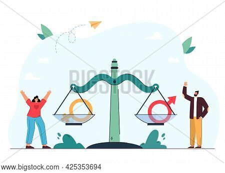 Tiny Woman And Man Standing Next To Scale With Gender Symbols. Gender Equality Flat Vector Illustrat
