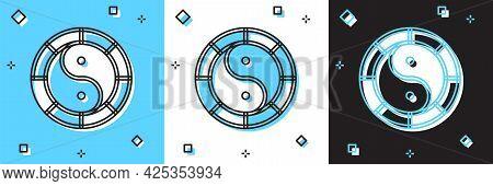 Set Yin Yang Symbol Of Harmony And Balance Icon Isolated On Blue And White, Black Background. Vector