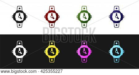 Set Diving Watch Icon Isolated On Black And White Background. Diving Underwater Equipment. Vector