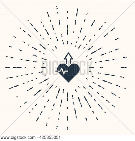 Grey Heartbeat Increase Icon Isolated On Beige Background. Increased Heart Rate. Abstract Circle Ran
