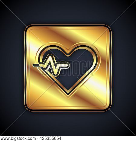 Gold Heart Rate Icon Isolated On Black Background. Heartbeat Sign. Heart Pulse Icon. Cardiogram Icon