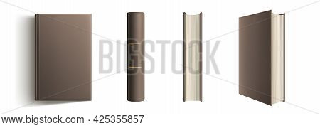 Book Spine And Cover Mockup, Blank Volume In Classic Style With Brown Hardcover And Golden Decorativ