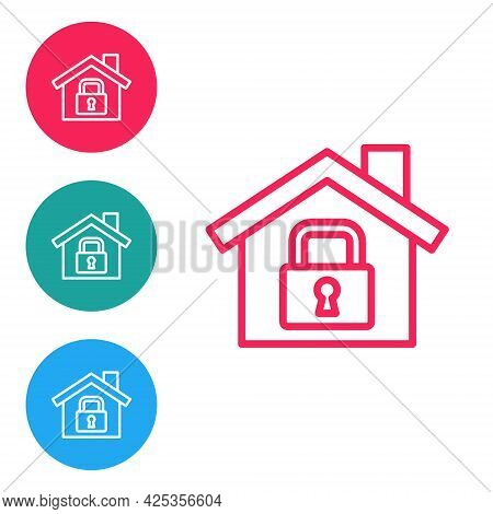 Red Line House Under Protection Icon Isolated On White Background. Home And Lock. Protection, Safety
