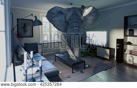 elephant in the room, concept of unsolved problems. 3d render.