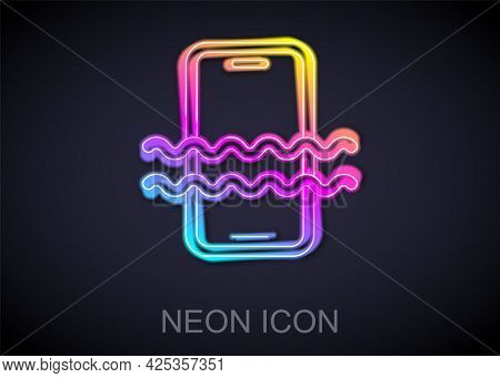 Glowing Neon Line Waterproof Mobile Phone Icon Isolated On Black Background. Smartphone With Drop Of