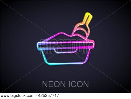 Glowing Neon Line Cat Litter Tray With Shovel Icon Isolated On Black Background. Sandbox Cat With Sh
