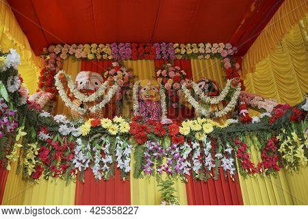 Idol Of God Jagannath, Balaram And Suvodra Is Being Worshipped. Ratha Jatra Festival At Howrah, West