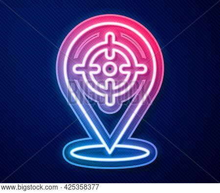 Glowing Neon Line Target Financial Goal Concept Icon Isolated On Blue Background. Symbolic Goals Ach