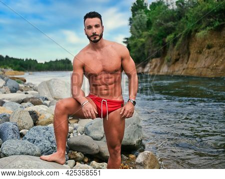 Handsome Young Muscular Man In Water Pond, Shirtless