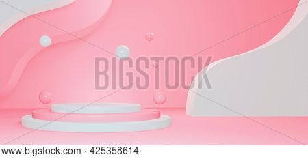 Empty Romantic Background Around A Pedestal Background In Pink Colors. 3d Render