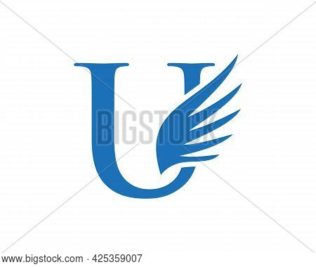 Wing Logo With U Letter Concept. U Letter Logo With Wing