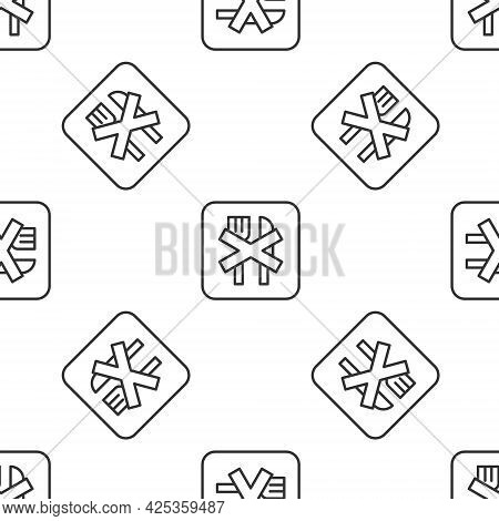 Grey Line Ramadan Fasting Icon Isolated Seamless Pattern On White Background. Religious Fasting. Vec