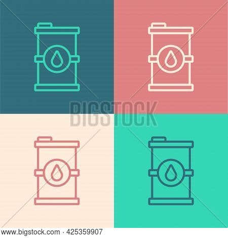 Pop Art Line Bio Fuel Barrel Icon Isolated On Color Background. Eco Bio And Canister. Green Environm
