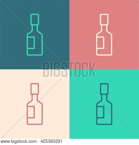 Pop Art Line Tabasco Sauce Icon Isolated On Color Background. Chili Cayenne Pepper Sauce. Vector
