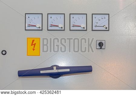 Main Electric Power Switch With Ampere And Volt Meters Danger