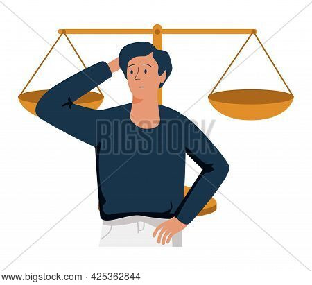 Legal Decisions Thinking As Right Law Judgment Choice Tiny Person Concept. Lawyer Strategy Confusion