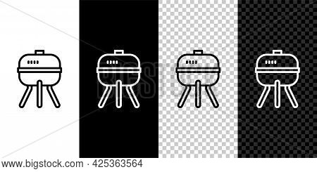 Set Line Barbecue Grill Icon Isolated On Black And White, Transparent Background. Bbq Grill Party. V