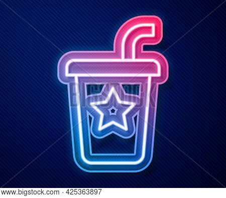 Glowing Neon Line Paper Glass With Drinking Straw And Water Icon Isolated On Blue Background. Soda D
