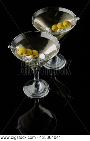 Martini Vermouth Drink Isolated On Black Background