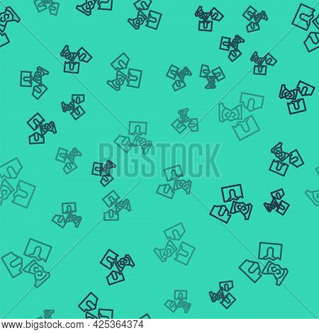 Black Line Tearing Apart Money Banknote Into Three Peaces Icon Isolated Seamless Pattern On Green Ba
