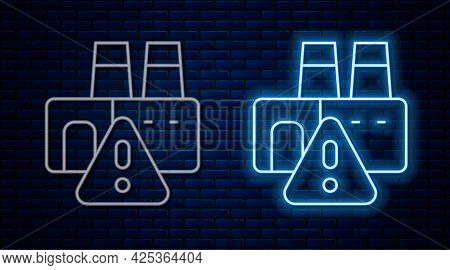 Glowing Neon Line Shutdown Of Factory Icon Isolated On Brick Wall Background. Industrial Building. V