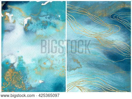 Watercolor Ocean Linear Texture With Blue, White And Gold. Hand Painted Sea Or Ocean Abstract Backgr