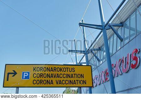 Helsinki, Finland - June 30, 2021: Helsinki Corona Vaccination Info Traffic Sign At The Messukeskus