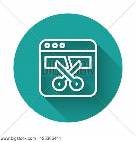 White Line Video Recorder Or Editor Software On Laptop Icon Isolated With Long Shadow Background. Vi
