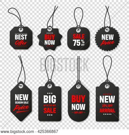 Realistic Black Price Tags Collection. Special Offer Or Shopping Discount Label. Retail Paper Sticke