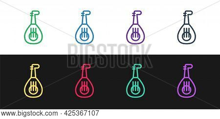 Set Line Musical Instrument Lute Icon Isolated On Black And White Background. Arabic, Oriental, Gree