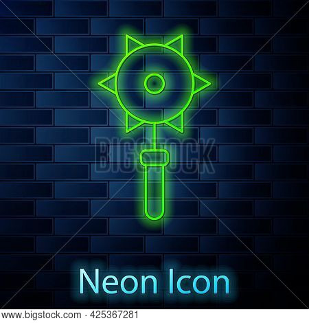 Glowing Neon Line Medieval Chained Mace Ball Icon Isolated On Brick Wall Background. Medieval Weapon