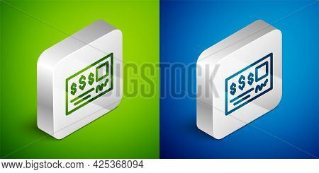 Isometric Line Blank Template Of The Bank Check And Pen Icon Isolated On Green And Blue Background.