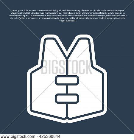 Blue Line Life Jacket Icon Isolated On Blue Background. Life Vest Icon. Extreme Sport. Sport Equipme
