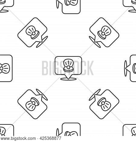Grey Line Scallop Sea Shell Icon Isolated Seamless Pattern On White Background. Seashell Sign. Vecto