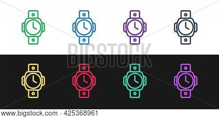 Set Line Diving Watch Icon Isolated On Black And White Background. Diving Underwater Equipment. Vect