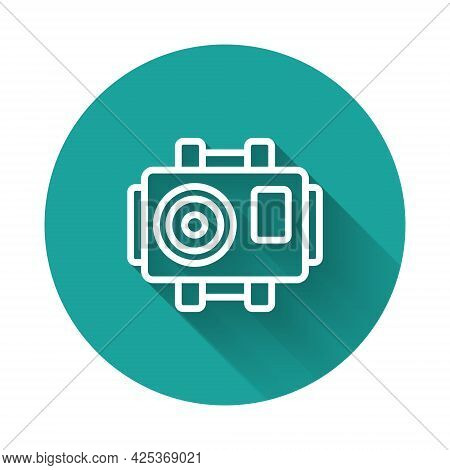 White Line Photo Camera For Diver Icon Isolated With Long Shadow Background. Foto Camera Icon. Divin