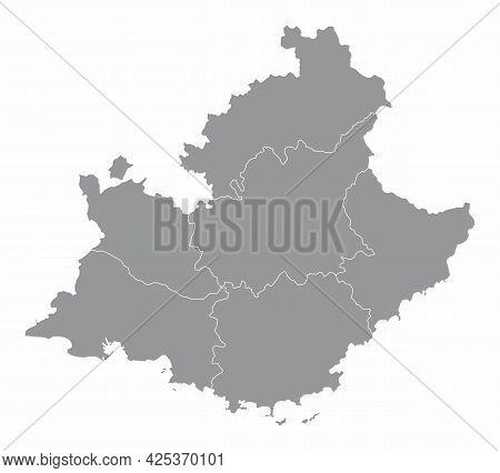 Provence-alpes-cote Dazur Administrative Map Isolated On White Background, France