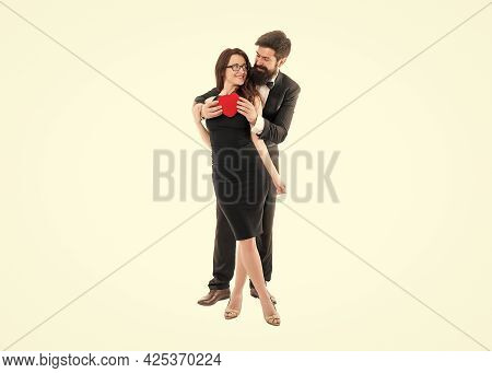 Completely In Love. Blind Love And Manipulations. Man Formal Suit And Attractive Woman. Love And Rom