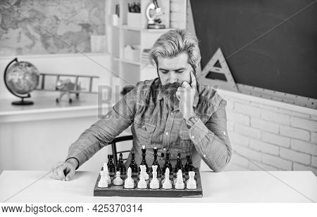 Figures On Chess Board. Intellectual Hobby. Thinking About Next Step. Do Your Own Thinking Independe