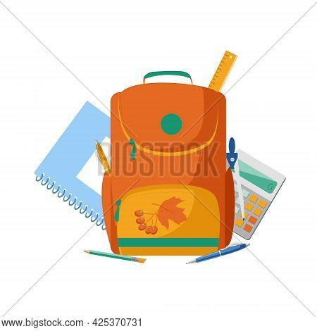 The Concept Of Collecting A Backpack For School. Vector Illustration In Cartoon Style, Children's Ba