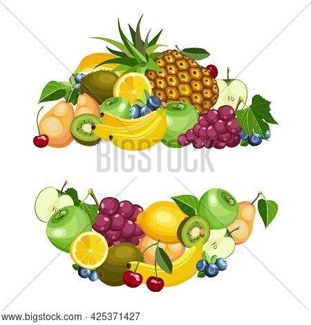 Summer Healthy Fruit Food Icon Cartoon Collection In Circle. Bright Beautiful Banner With Colorful D