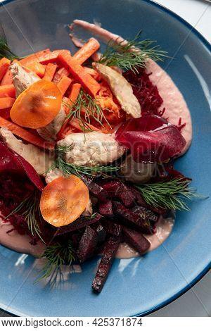 Hummus With Baked Beetroot And Carrot Garnish, Close-up Of Hummus Starter With Garnish, Top View